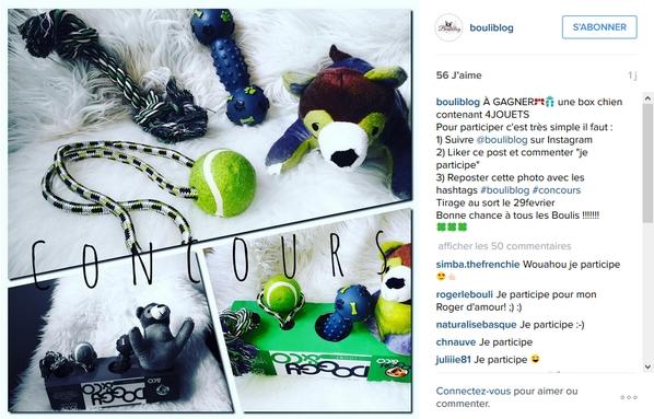 Le post du concours sur Instagram