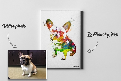 Voici ce que donne un tableau Frenchy Pop à partir de la photo d'un bouledogue